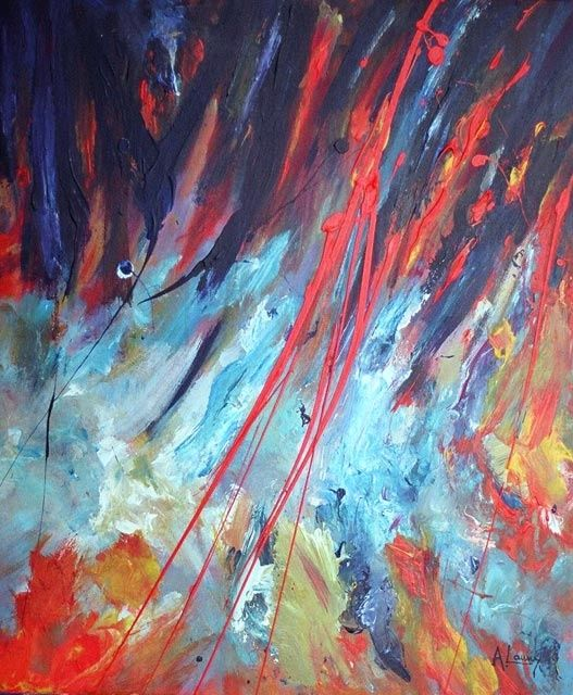 """ Ice on Fire"" - Acrílico S/ Tela - Painting,  50x60 cm ©2006 by Rui Albuquerque -                        Abstract Art"