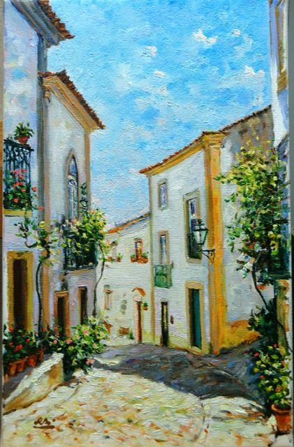 Rua de Constância - Óleo s/Tela  // Street of Constância - Oil on Canvas - Painting,  27x41 cm ©2012 by Rui Albuquerque -                        Figurative Art