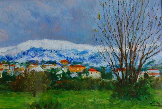 Gouveia - Neve na Serra - Acrílico // Gouveia - Snow on the Mountain - Acrilyc - Painting,  24x17 cm ©2013 by Rui Albuquerque -                        Figurative Art