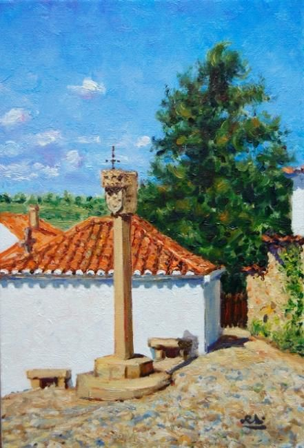 Pelourinho de Longroiva - Óleo s/ Tela  // Monument in Longroiva - Oil on Canvas - Painting,  22x33 cm ©2012 by Rui Albuquerque -                        Figurative Art