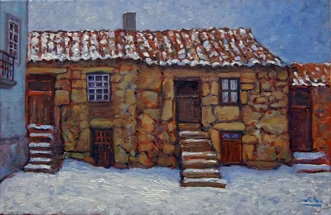 Casario com neve - Folgosinho - Óleo s/ Tela // Houses with Snow - Folgosinho - Oil on Canvas - Painting,  41x27 cm ©2013 by Rui Albuquerque -                        Figurative Art