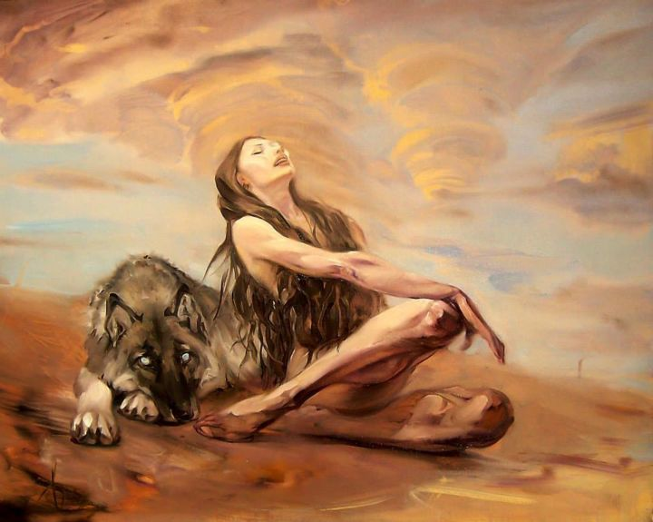 Wolf with nude women