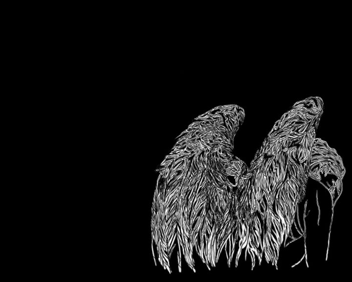 THE STORM IN THE HEART - Digital Arts,  1,280x1,024 cm ©2016 by RS - ΛRT -                                                                    Illustration, Minimalism, Spirituality, Black and White, Angel, Black and White, The Storm, Heart