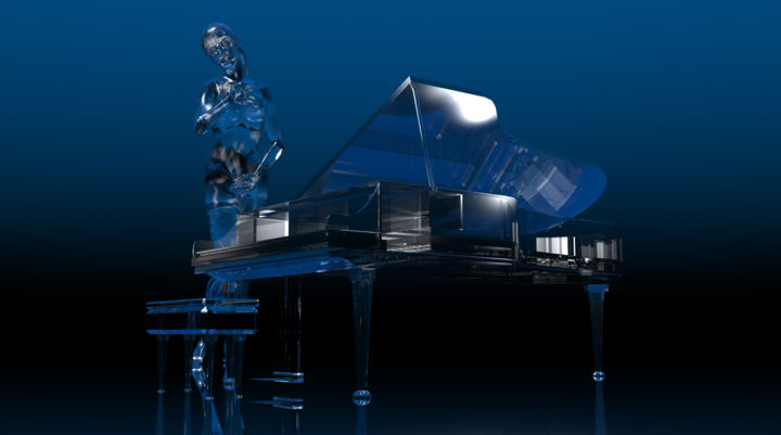 """Digital Arts titled """"Glass Piano and Pla…"""" by Russell Newell, Original Art, 3D Modeling"""