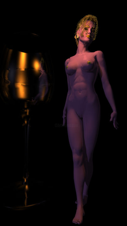 """Digital Arts titled """"Woman and wine glass"""" by Russell Newell, Original Art, 3D Modeling"""