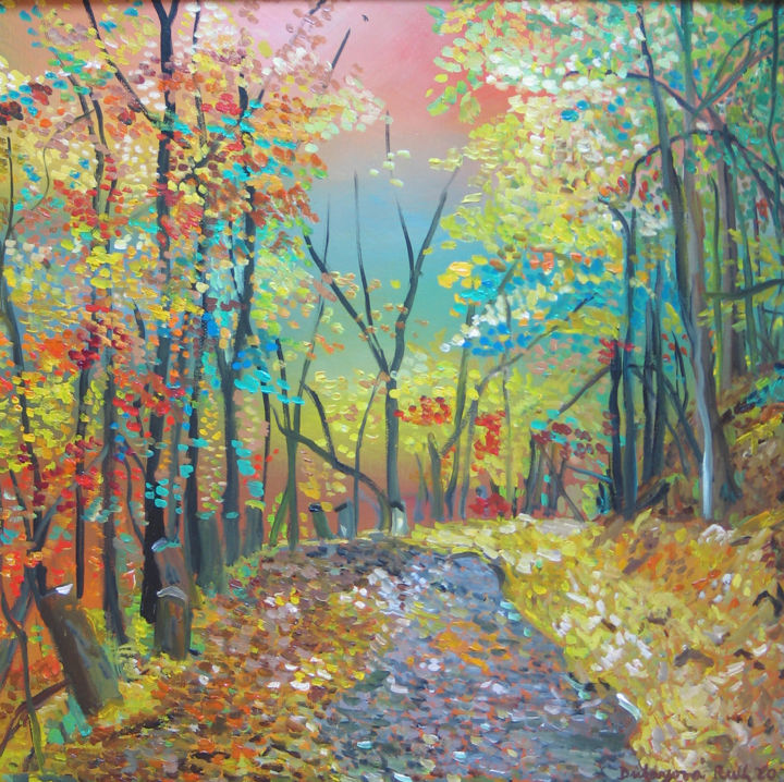 """Painting titled """"Forest road"""" by Ruth Dubayová, Original Art, Oil"""