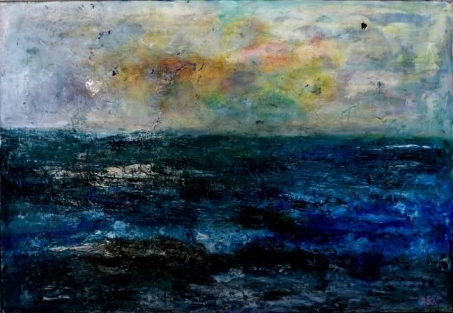 """Painting titled """"Sea"""" by Ruth Peled-Ney, Original Art, Other"""