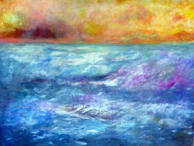 """Painting titled """"Sea 2"""" by Ruth Peled-Ney, Original Art,"""