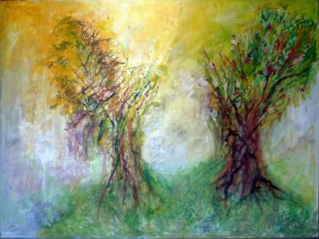 """Painting titled """"Trees"""" by Ruth Peled-Ney, Original Art,"""