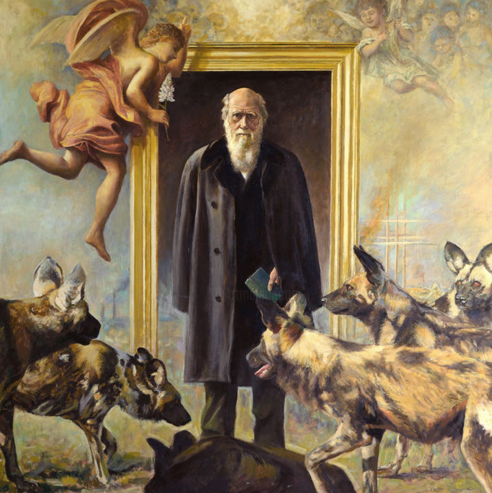 Most beautiful and most wonderful - ©  Richard Whincop, surrealist painting, Figurative painting, Figurative Art, science painting, Charles Darwin portrait, evolution painting Online Artworks