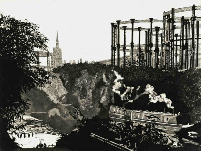 """Printmaking titled """"ST PANCRAS FROM THE…"""" by Ryepress - Colin Bailey, Original Art, Engraving"""