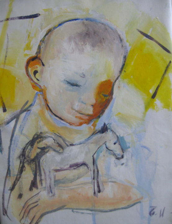 """Painting titled """"The boy with a toy…"""" by Sheila, Original Art, Acrylic"""
