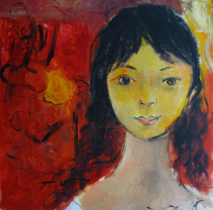 """Painting titled """"Dancing Hair"""" by Sheila, Original Art, Oil"""