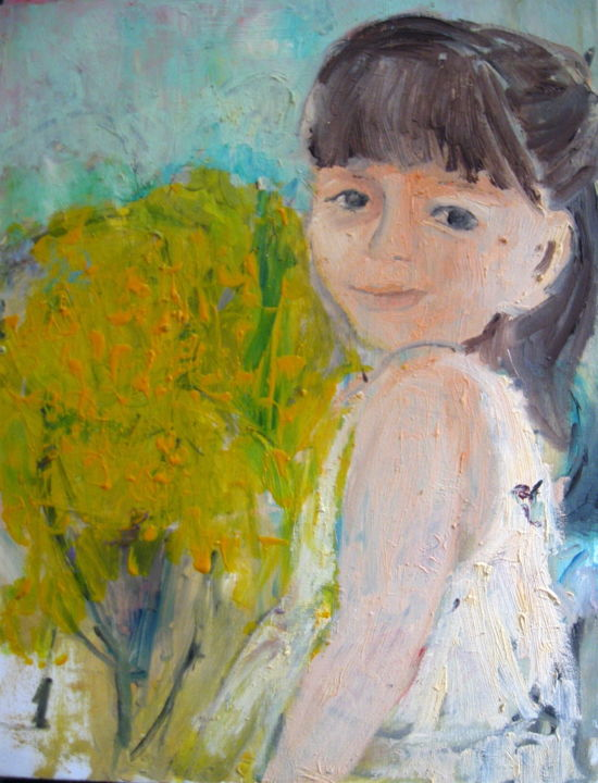 """Painting titled """"Girl in the nature"""" by Sheila, Original Art, Acrylic"""