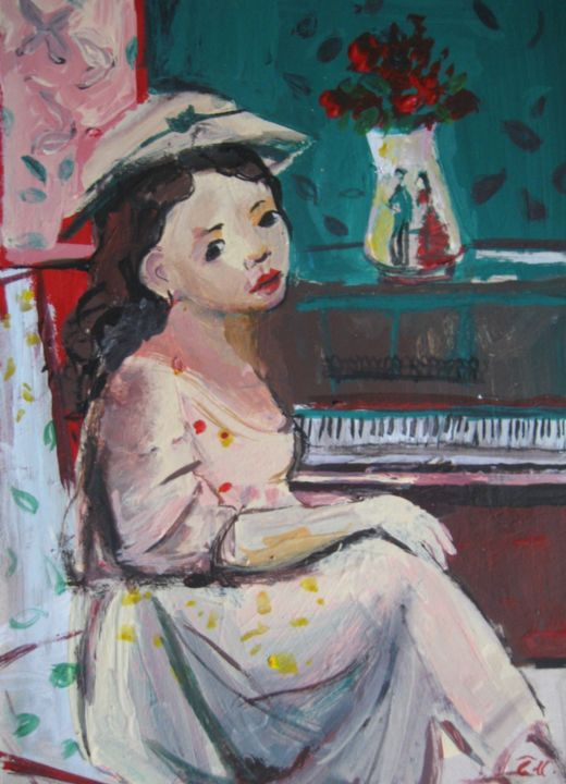 """Painting titled """"Woman in the piano…"""" by Sheila, Original Art, Acrylic"""