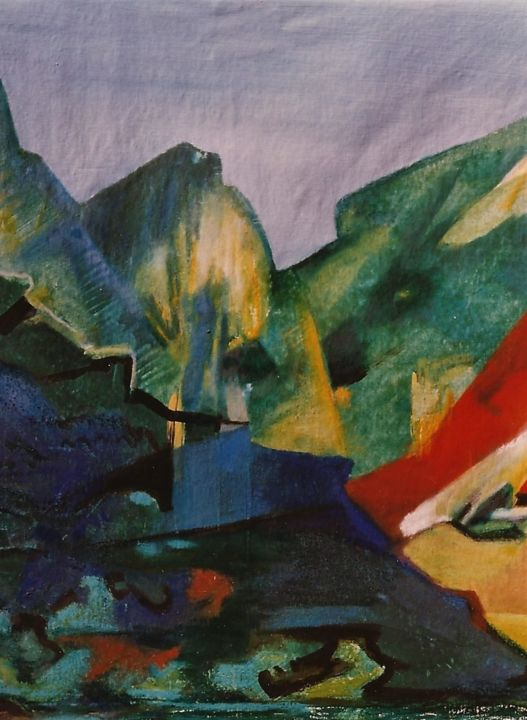 Landschaft - Painting,  35.4x29.5x1.2 in, ©1998 by S.Weinmann -                                                                                                                                                                          Expressionism, expressionism-591, Mountainscape