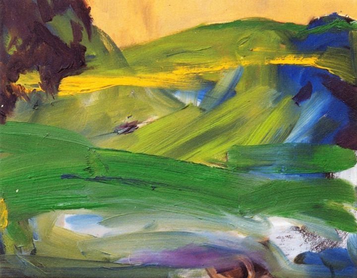landscape-5 - Painting,  11.8x15.8x0.4 in, ©1999 by S.Weinmann -                                                                                                                                                                                                                                                                      Abstract, abstract-570, Nature, Wald, Landschaft