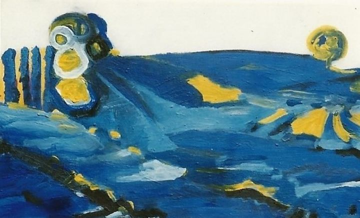 landscape-7 - Painting,  7.9x15.8 in, ©1999 by S.Weinmann -                                                                                                                                                                                                                          Abstract, abstract-570, Landscape, Natur