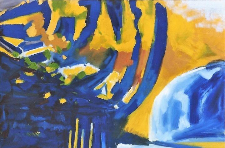 landscape6 - Painting,  27.6x47.2x0.4 in, ©1999 by S.Weinmann -                                                                                                                                                                                                                                                                      Abstract, abstract-570, Landscape, Weinberg, Kaiserstuhl