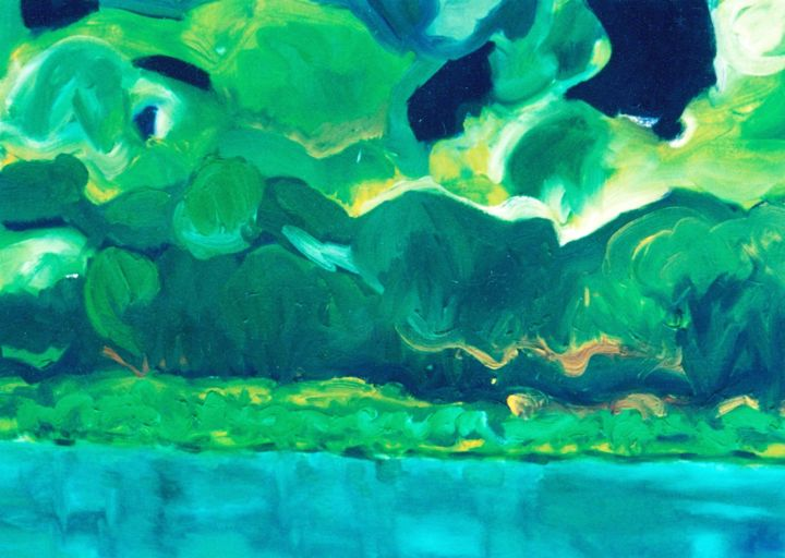 landscape4 - Painting,  23.6x31.5x0.4 in, ©1999 by S.Weinmann -                                                                                                                                                                                                                          Abstract, abstract-570, Water, Flusslandschaft