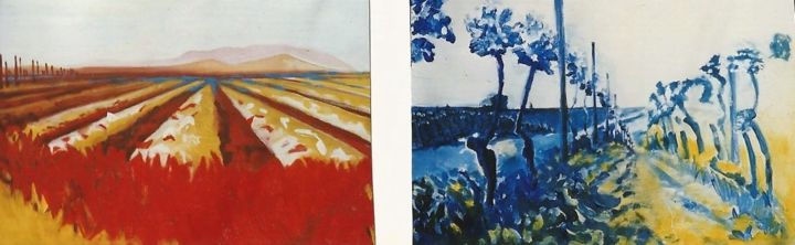 landscapes-9-10 - Painting,  7.9x23.6 in, ©1999 by S.Weinmann -                                                                                                                                                                                                                                                                      Expressionism, expressionism-591, Agriculture, Weinberg, Spargelfeld