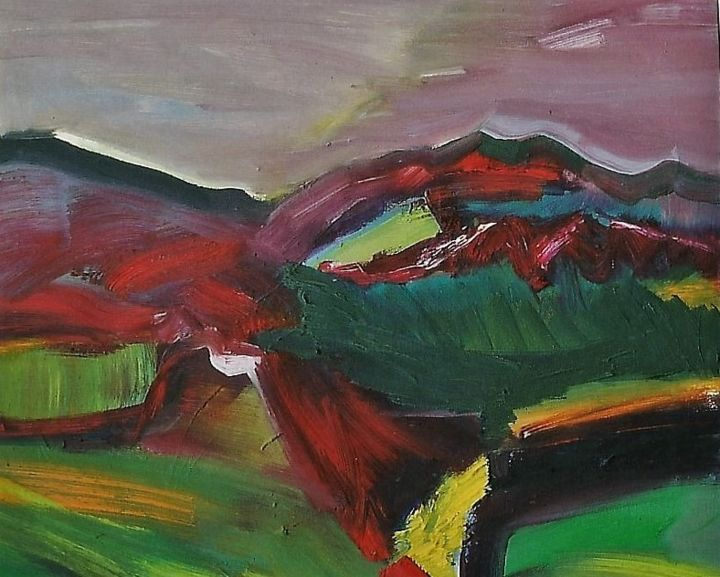 landschaft3 - Painting,  11.8x15.8 in, ©1999 by S.Weinmann -                                                                                                                                                                                                                                                                      Abstract, abstract-570, Landscape, Natur, Schwarzwald