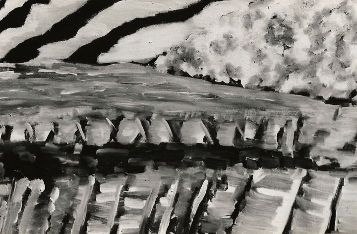 schwarzweiss1. - Painting,  15.4x22.8x0.4 in, ©1997 by S.Weinmann -                                                                                                                                                                          Abstract, abstract-570, Landscape
