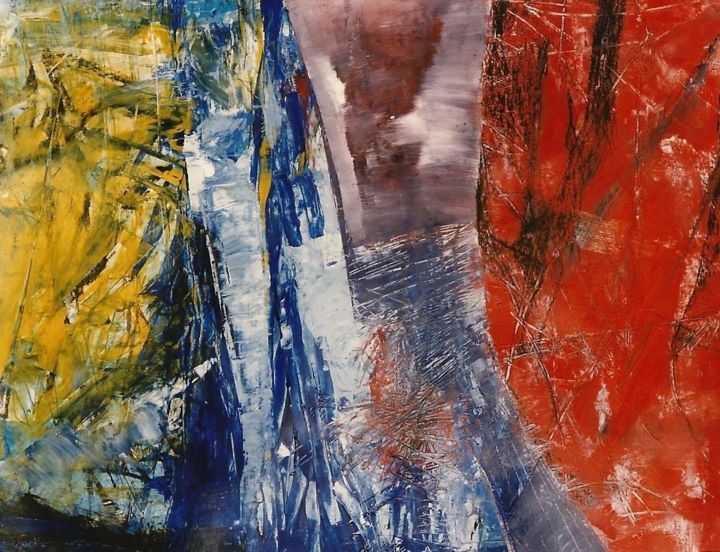 shine-I - Painting,  33.5x39.4x0.2 in, ©1998 by S.Weinmann -                                                                                                                                                                          Abstract, abstract-570, Spirituality