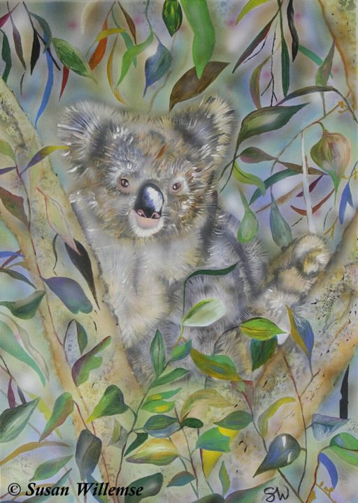 """Painting titled """"Koala"""" by Susan Willemse, Original Art, Acrylic Mounted on Stretcher frame"""