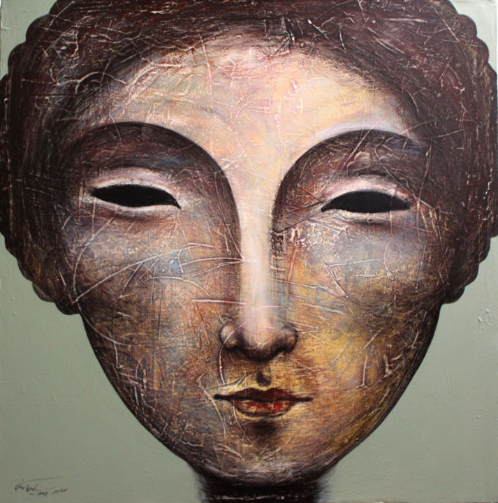 """Painting titled """"Stone Faces Collect…"""" by Saber Soleimani, Original Art, Other"""