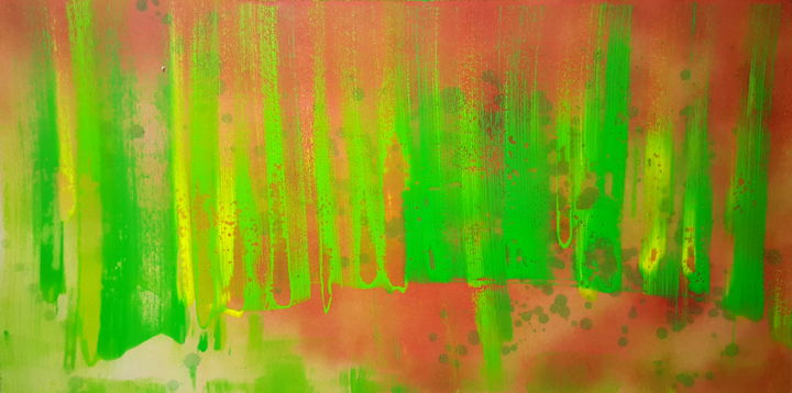 fire wood - Painting,  23.6x48.8 in, ©2018 by Sabina Kiss -                                                                                                                                                                                                                                                                                                                                                                                                                                                                                                                                                                                                                                      Abstract, abstract-570, Other, groen, bos, vuur, hope, leven, licht, aarde, landschap, lente, dynamiek