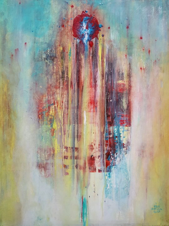 pain washed with tears - Painting,  19.7x15.8 in, ©2017 by Sabina Kiss -                                                                                                                                                                                                                                                                                                                                                                                                                                                                                                                                                                                                                                  Abstract, abstract-570, pain, pein, tears, tranen, wash, water, healing, emotion, blood, psyche, therapy