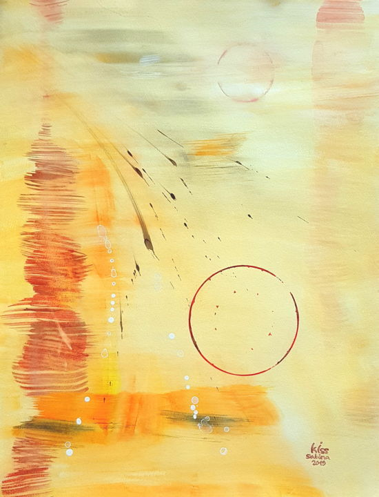nu - Painting,  25.6x19.7 in, ©2019 by Sabina Kiss -                                                                                                                                                                                                                                                                                                                                                                                                                                                                                                  Abstract, abstract-570, Abstract Art, universe, yellow, orange, circle, love, spirit, emptyness