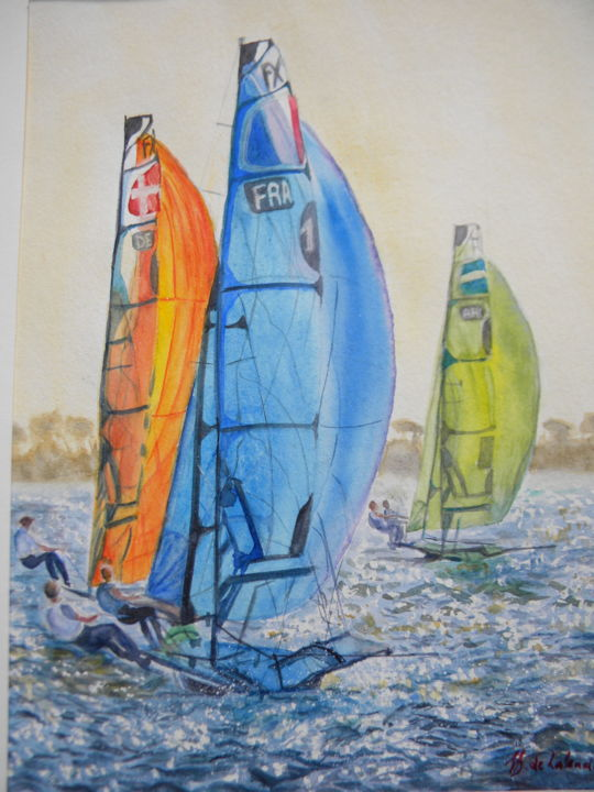 world-cup-series-toulon.jpg - Painting,  9.5x12.6 in, ©2018 by Sabine Dumont de Lalande -                                                                                                                                                                          Figurative, figurative-594, Sailboat
