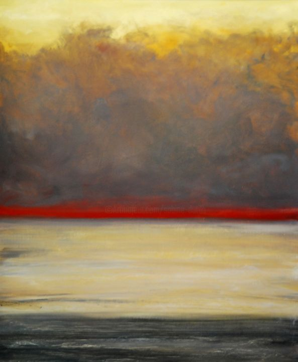 Coucher de soleil à Soulac - Painting,  25.6x19.7 in, ©2014 by Sabine Dutilh -                                                                                                                                                                                                          Canvas, Other, Seascape, Soulac marine Dutilh