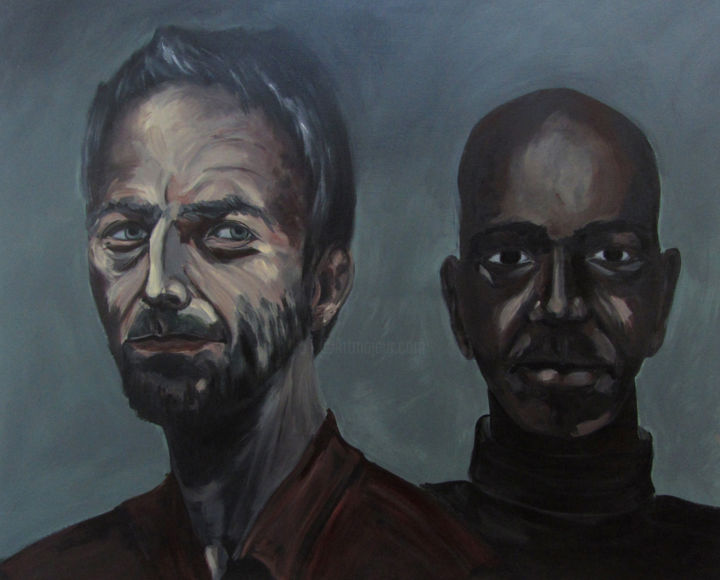 les-musiciens.jpg - Painting,  80x100 cm ©2013 by Nadja Sacco -                        Portraiture