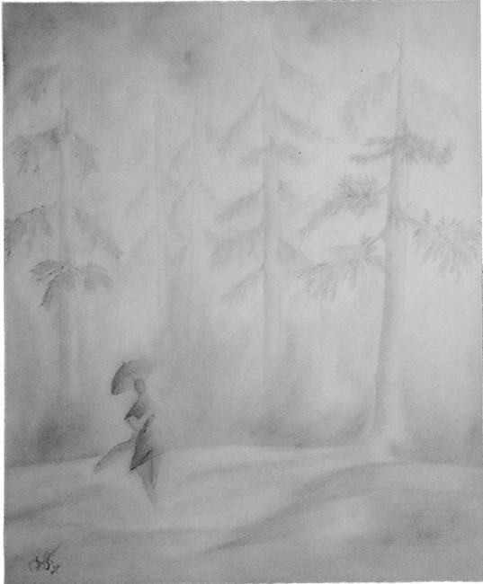 """Painting titled """"Walk in the drizzle"""" by Sachindra Amaratunge, Original Art,"""