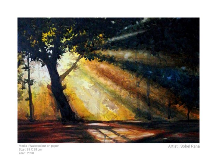 """Painting titled """"The light is dark"""" by Sada Canvas, Original Art, Watercolor"""