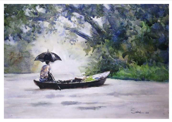 """Painting titled """"The Rainy music"""" by Sada Canvas, Original Art, Watercolor"""