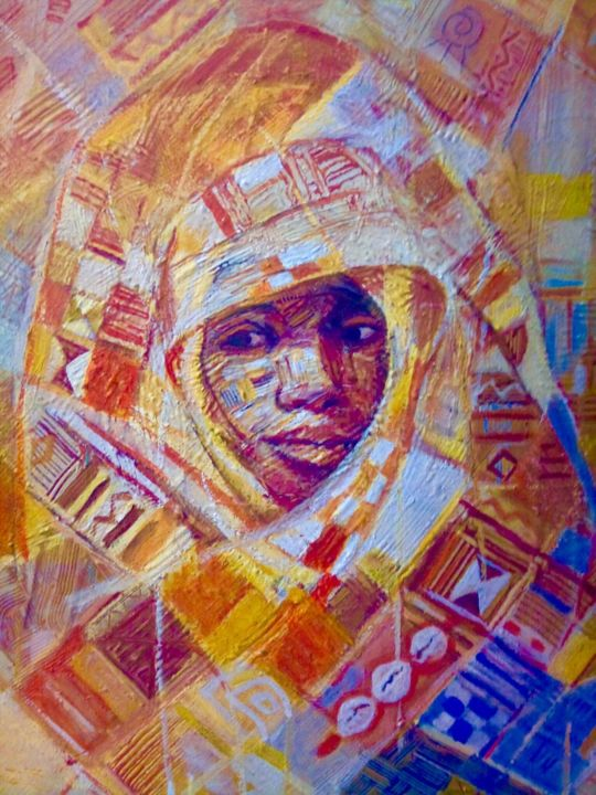 """Painting titled """"The king Akan"""" by Mominet Sadia Roland, Original Art, Acrylic"""