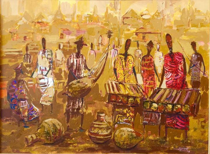 """Painting titled """"Les musiciens Senou…"""" by Mominet Sadia Roland, Original Art, Collages"""