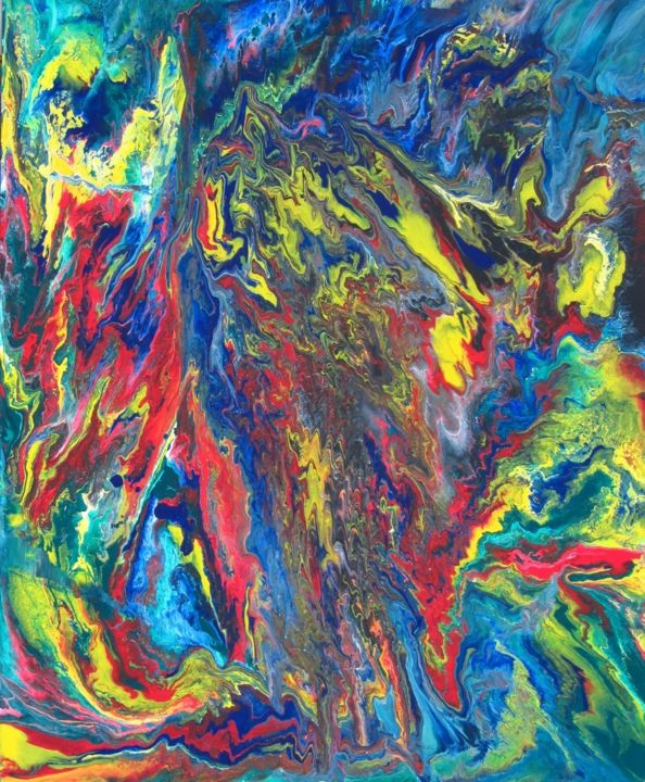 """Painting titled """"Abstract No. 408"""" by Shahriar Aghakhani, Original Art, Acrylic"""
