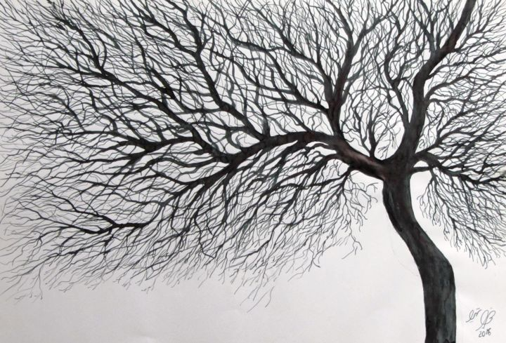 """Drawing titled """"Tree No. 3"""" by Shahriar Aghakhani, Original Art, Ink"""