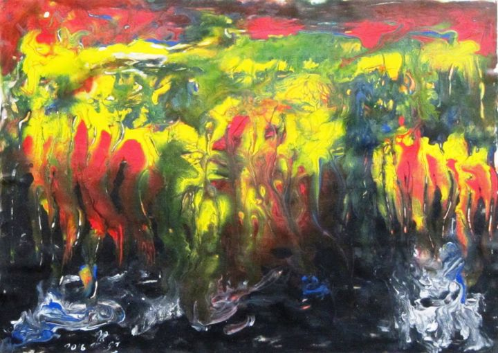 """Painting titled """"Abstract No. 138"""" by Shahriar Aghakhani, Original Art, Watercolor"""