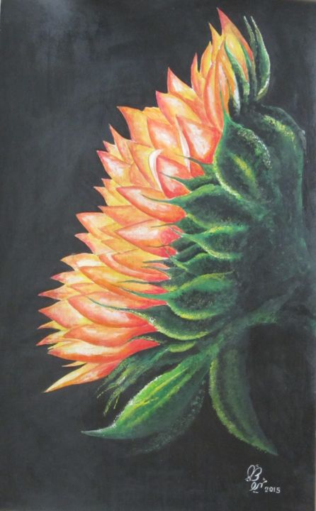 """Painting titled """"Sunflower"""" by Shahriar Aghakhani, Original Art, Watercolor"""