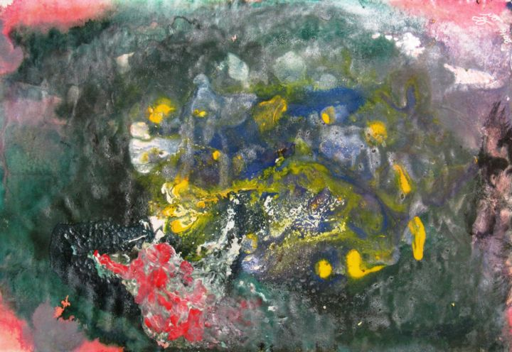 """Painting titled """"Abstract No. 413"""" by Shahriar Aghakhani, Original Art, Watercolor"""