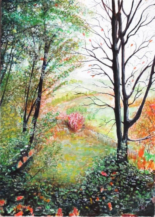"""Painting titled """"Spring is coming"""" by Shahriar Aghakhani, Original Art, Watercolor"""