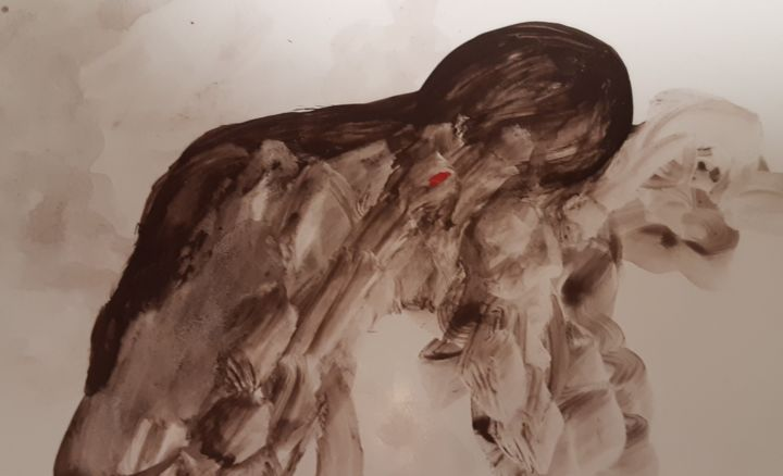 """Drawing titled """"Sad day"""" by Shahriar Aghakhani, Original Art, Ink"""