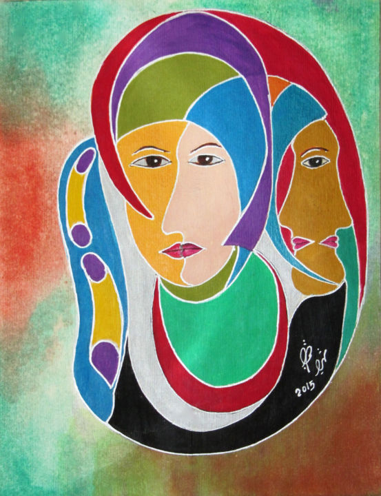 """Painting titled """"Faces"""" by Shahriar Aghakhani, Original Art, Watercolor"""