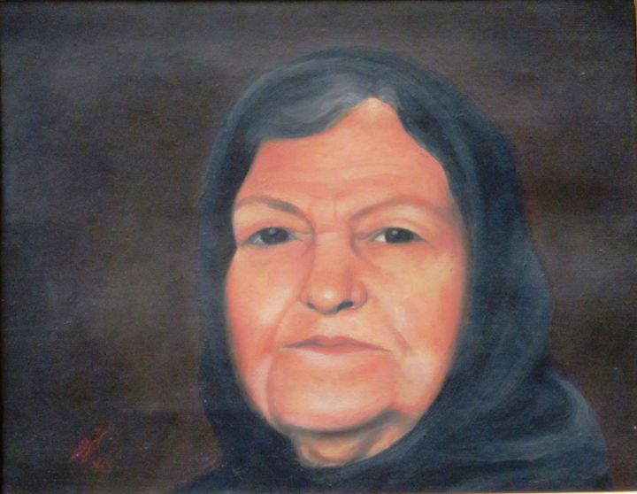 """Painting titled """"Grand mom"""" by Shahriar Aghakhani, Original Art, Oil"""